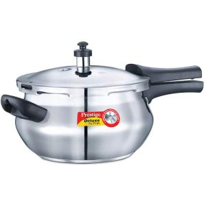 Prestige Stainless Steel Deluxe Pressure Cookers - Alpha Base 3.3 Ltr Mini Handi New