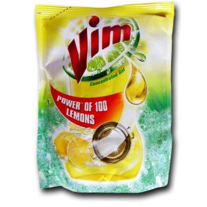 Vim Concentrated Gel pouch Power of 100 Lemons 225 ml
