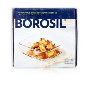 Borosil Microwavable Square Dish 0.8 L With Plastic